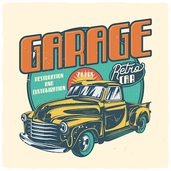 T-shirt oder plakatentwurf mit illustration des klassischen autos