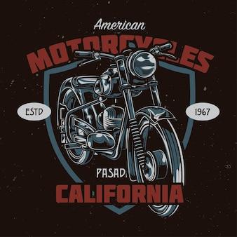 T-shirt oder plakatentwurf mit illustration des klassischen motorrades