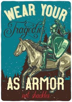 T-shirt oder plakatentwurf mit illustration des ritters auf einem pferd.