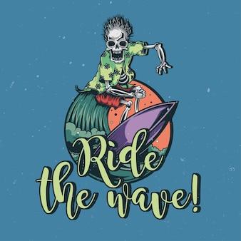 T-shirt oder plakatentwurf mit illustration des skeletts auf surfbrett