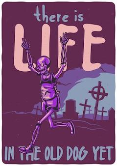 T-shirt oder plakatentwurf mit illustration des skeletts, das vom friedhof läuft.