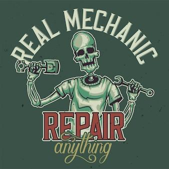 T-shirt oder plakatentwurf mit illustration des skeletts des mechanikers.