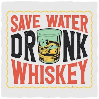 T-shirt oder plakatentwurf mit illustration des whiskyglases