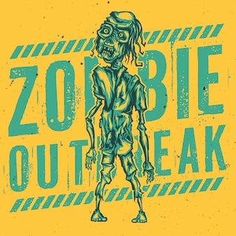 T-shirt oder plakatentwurf mit illustration des zombies