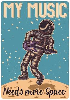 T-shirt oder plakatentwurf mit illustration eines astronauten mit einer gitarre auf dem mond.
