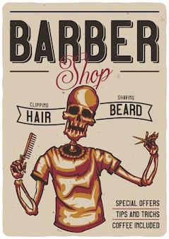 T-shirt oder plakatentwurf mit illustration eines friseursalons mit skelett.