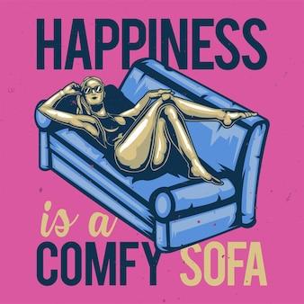 T-shirt oder plakatentwurf mit illustration eines gilf auf dem sofa