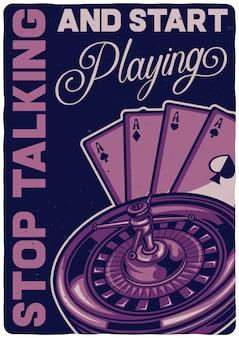 T-shirt oder plakatentwurf mit illustration eines kasinospiels.