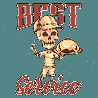 T-shirt oder plakatentwurf mit illustration eines kuriers.