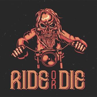 T-shirt oder plakatentwurf mit illustration eines skeletts auf fahrrad.