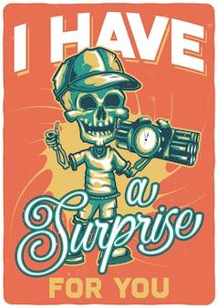 T-shirt oder plakatentwurf mit illustration eines skeletts mit einer bombe.