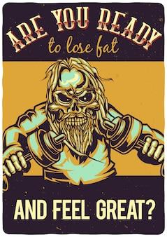 T-shirt oder plakatentwurf mit illustration eines skeletts mit hanteln.