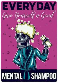 T-shirt oder plakatentwurf mit illustration eines skeletts mit shampoo.