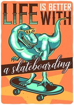 T-shirt oder plakatentwurf mit illustration von dino auf skateboard.
