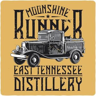 T-shirt- oder poster-design mit abbildung des lastwagens des schmugglers