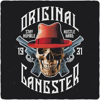 T-shirt- oder posterdesign mit illustration von totenkopf mit hut und pistolen