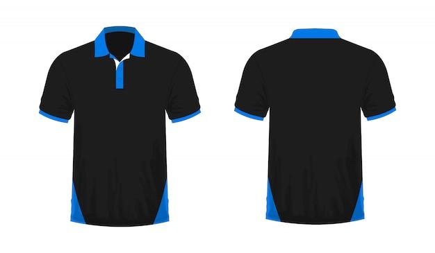 T-shirt polo blaue und schwarze vorlage für design auf weißem hintergrund.