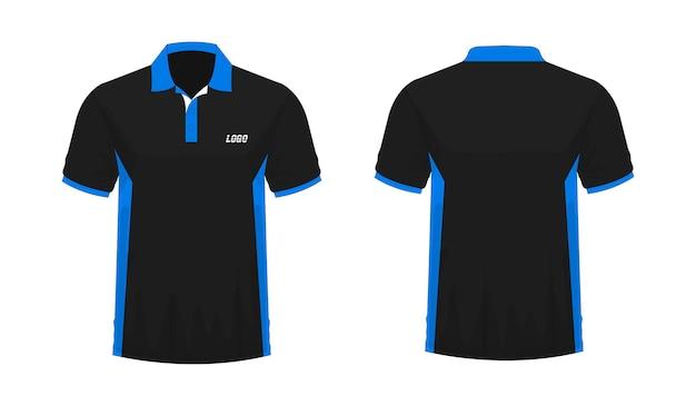 T-shirt polo blaue und schwarze vorlage