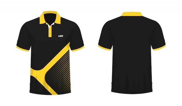 T-shirt polo gelbe und schwarze schablone für design auf weißem hintergrund.
