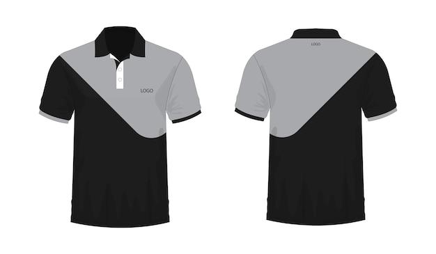 T-shirt polo grau und schwarz vorlage