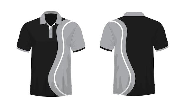 T-shirt polo graue und schwarze vorlage für design auf weißem hintergrund. vektorillustration env 10.
