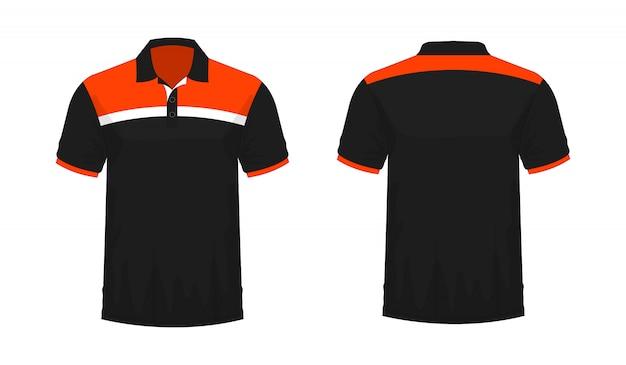 T-shirt polo orange und schwarze vorlage für design auf weißem hintergrund.