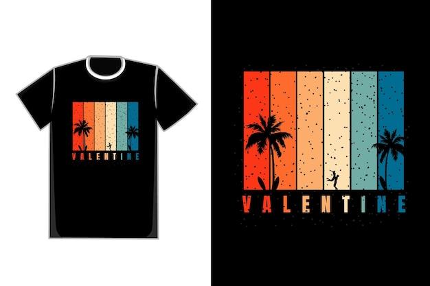 T-shirt romantische paare auf einem strandtitel valentinstag