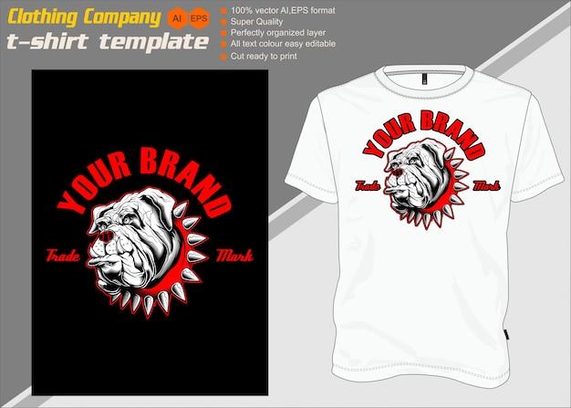 T-shirt schablone, völlig editable mit hundevektor
