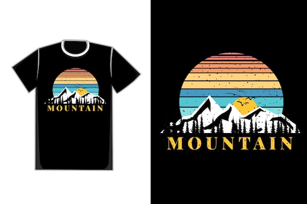 T-shirt silhouette bergart vintage retro natur sonnenaufgang