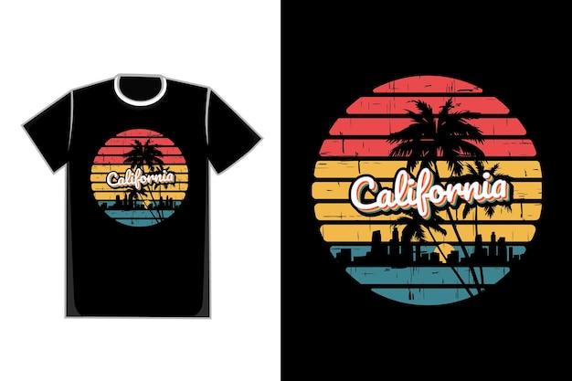 T-shirt silhouette kalifornien stadt retro stil sonnenschein