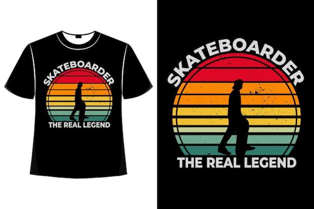 T-shirt silhouette skateboarder legende retro-stil