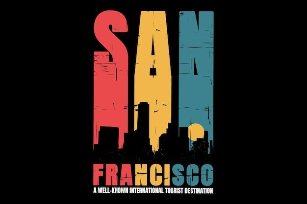 T-shirt silhouette stadt san francisco retro-stil Premium Vektoren