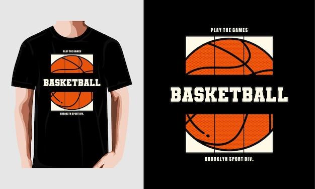 T-shirt-slogan-typografie-basketbal-vintage-illustration premium-vektor