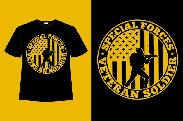 T-shirt spezieller soldat veteran amerikanische flagge typografie vintage illustration