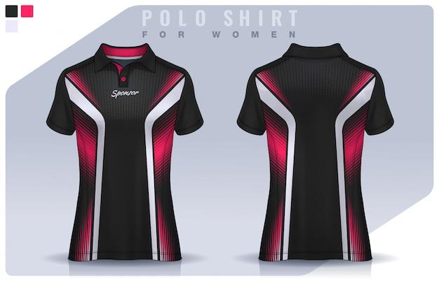 T-shirt sport design für frauen, fußball trikot modell für fußballverein. polo uniform vorlage.