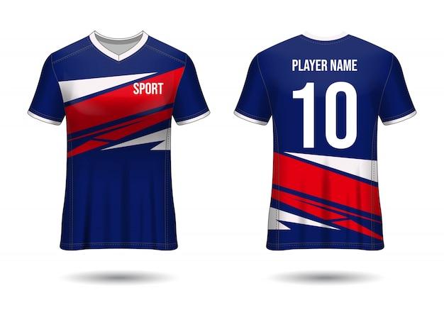 T-shirt sport design. fußballtrikotmodell für fußballverein. einheitliche vorder- und rückansicht. template design. vorlage trikot realistisch