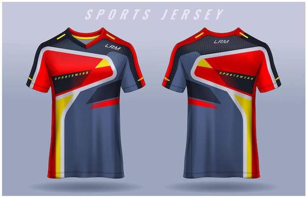 T-shirt sport-design-vorlage fußball-trikot für fußballverein-uniform vorder- und rückansicht