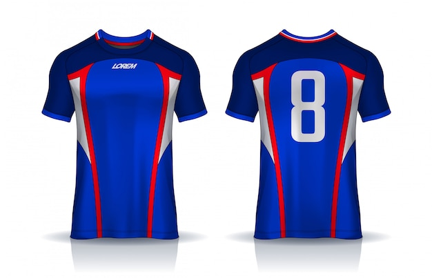 T-shirt sport design vorlage, fußball trikot modell für fußballverein. einheitliche vorder- und rückansicht.