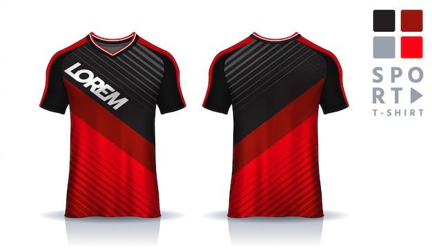 T-shirt sport entwurfsvorlage, einheitliche vorder- und rückseite.