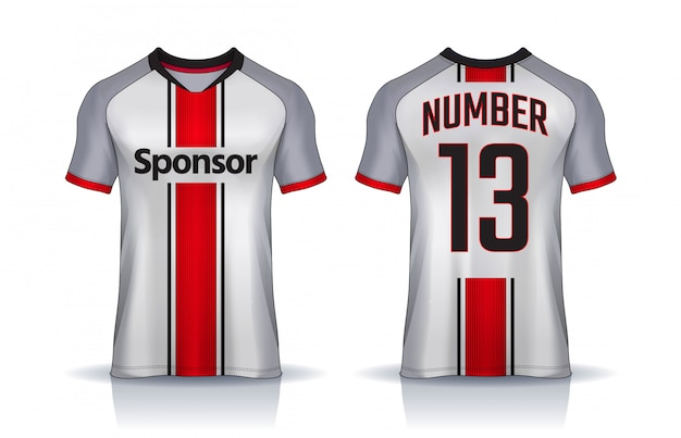 T-shirt sport entwurfsvorlage, fußball trikot für fußballverein. einheitliche vorder- und rückansicht.