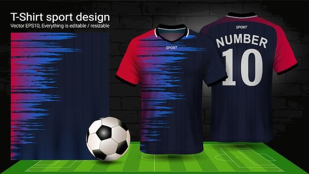 T-shirt sport, rote und schwarze jersey-vorlage.