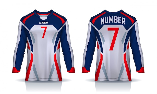 T-shirt sport vorlage, langarm fußball trikot.