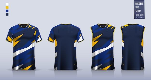 T-shirt, sporthemdschablonenentwurf für fußballtrikot, fußballtrikot. trägershirt für basketballtrikot oder laufunterhemd.