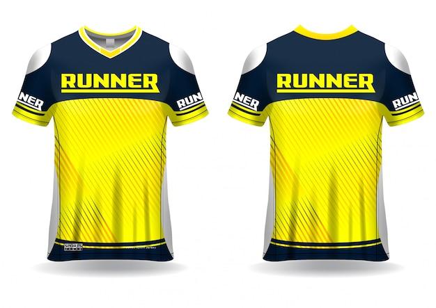 T-shirt sportvorlage für lauftrikot, sportuniform in vorder- und rückansicht