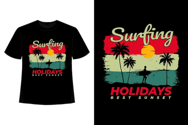 T-shirt surfen urlaub sonnenuntergang retro-stil