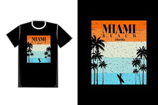 T-shirt surfer silhouette miami beach florida