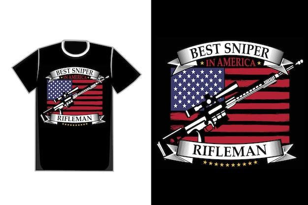 T-shirt typografie scharfschützenflagge amerikanischen schützen vintage-stil