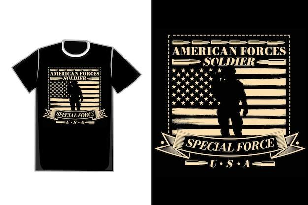 T-shirt typografie special force amerikanischer soldat flagge vintage-stil
