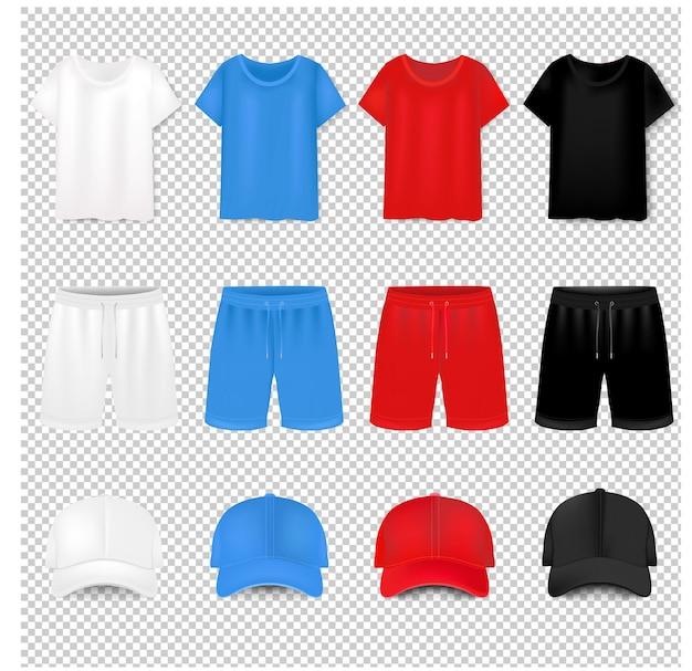 T-shirt und baseballmütze und kurz auf transparent mit farbverlaufsnetz.