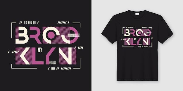 T-shirt und kleidung des geometrischen abstrakten stils brooklyn new york Premium Vektoren